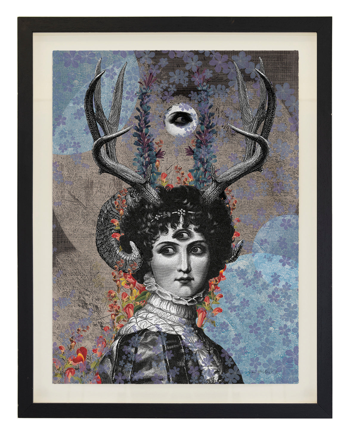 'Luna' ~ ready framed in black ash