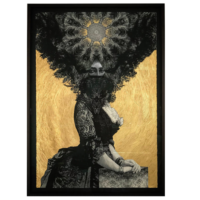'Priestess' with gold leaf, pencil and paint.  76cm x 112cm