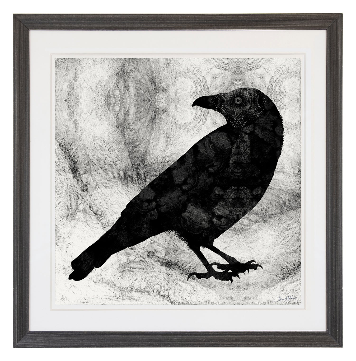 'Raven' ~ ready framed in grey wood frame