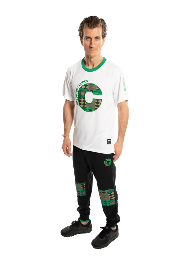 Boston Celtics 90's Kente Team Letter Performance T-Shirt White