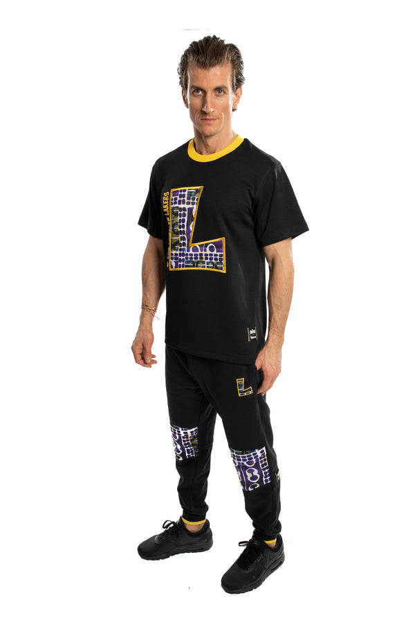 Los Angeles Lakers 90's Kente Team Letter Performance T-Shirt Black