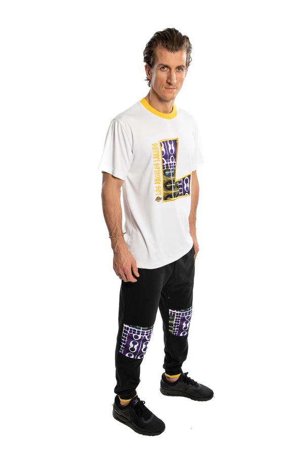 Los Angeles Lakers 90's Kente Team Letter Performance T-Shirt White