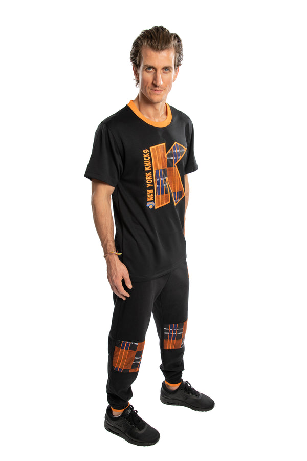 New York Knicks 90's Kente Team Letter Performance T-Shirt Black