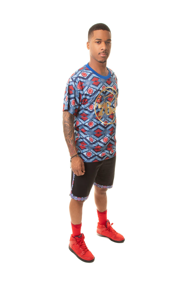 Philadelphia 76'ers Team Kente Print Performance T-Shirt