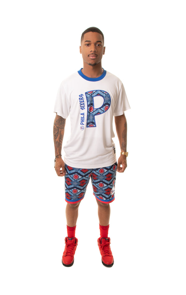 Philadelphia 76'ers 90's Kente Team Letter Performance T-Shirt White