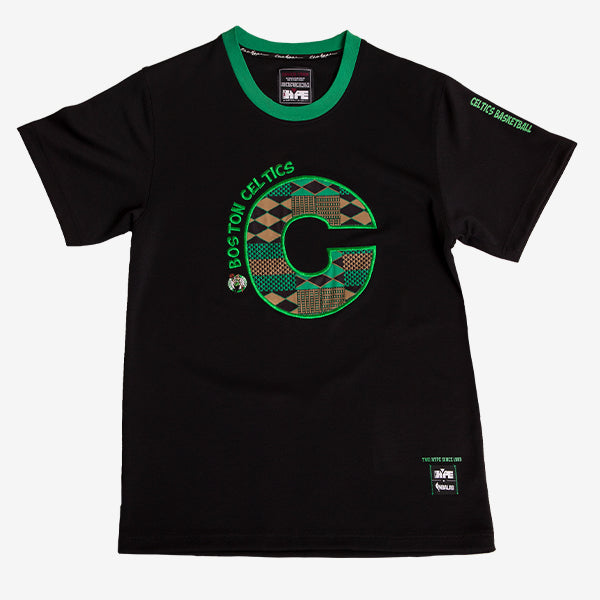 Boston Celtics 90's Kente Team Letter Performance T-Shirt Black