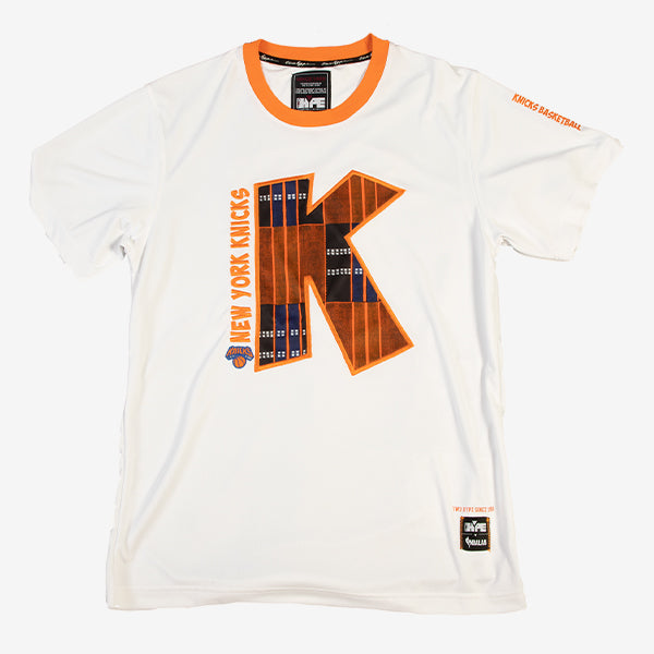 New York Knicks 90's Kente Team Letter Performance T-Shirt White