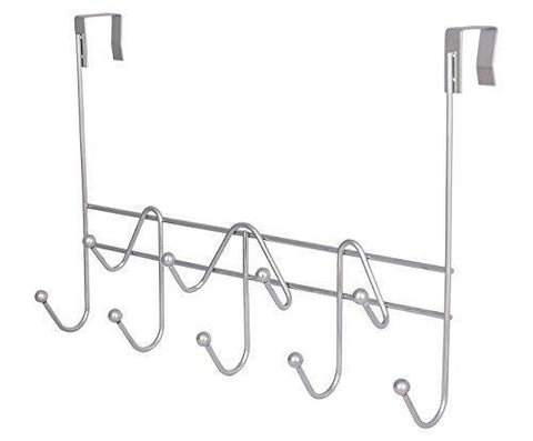 ESYLIFE Hooks Over the Door Hook Organizer Rack Hanging Towel Rack Over Door, 9 Hooks, Chrome Finish
