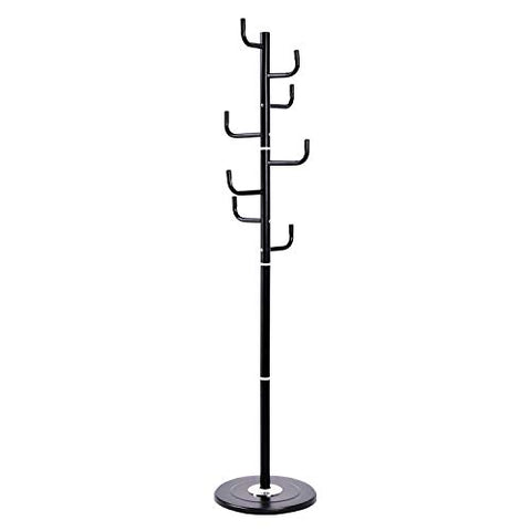 "AyaMastro Black 69"" H Coat Tree Rack Hat Standing Cloth Hanger w/ 8 Hook & Round Steel Base with Ebook"