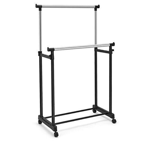 GOFLAME Garment Rack with Wheel Heavy Duty Metal Frame Height Adjustable Portable Clothes Rack with Doulble Rail