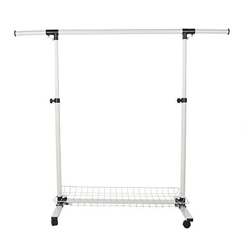 GOTOTOP Single Rail Clothing Garment Rack with Wheels Height Adjustable Collapsible Clothes Rack Max Load Capacity
