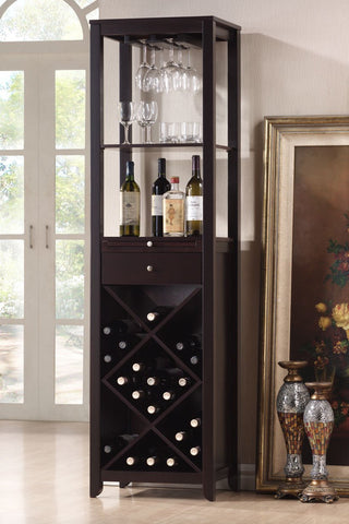 Arles Espresso Wood Wine Tower Cabinet