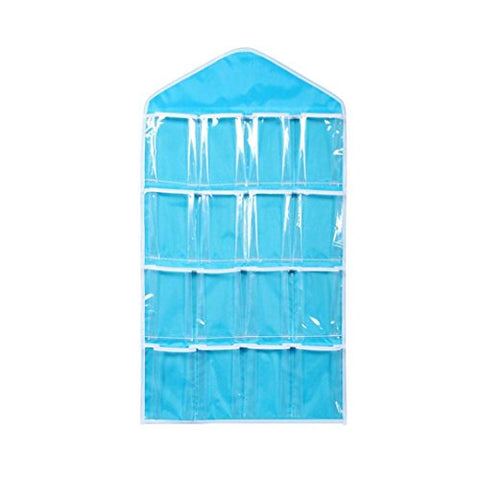 Cinhent Bag 16 Transparent Pockets Portable Convenient and Lightweight Clear Hanging Closet, Socks Bra Underwear Rack Organizer Hanger Polyester Storage Bag (Blue)