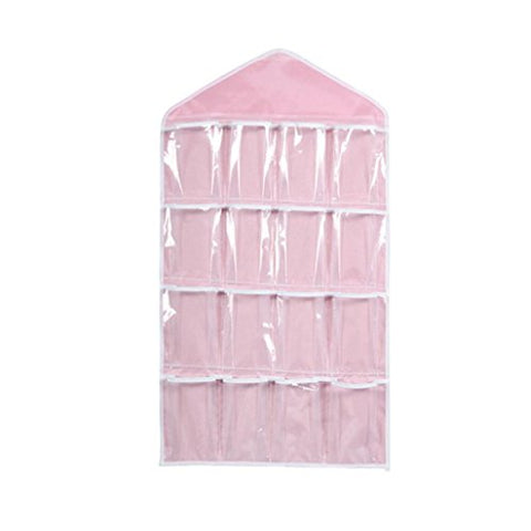 Clearance Hanger Storage,AIEason 16Pockets Clear Hanging Bag Socks Bra Underwear Rack Hanger Storage Organizer (Pink)