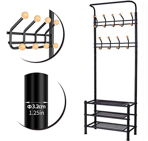 BACOENG Metal Entryway Organizer with 18 Solid Wood Hooks, 3-Tier Shoe Bench, Multi-Purpose Clothes Coat Stand Shoes Rack, Black