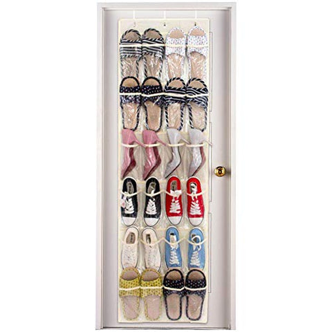 24 Pockets Over The Door Shoe Organizer. Crystal Clear Display Storage for Designer Shoes, Pointy Heels, Sports and Running Snickers. Heavy Duty and Durable. Space Saver.