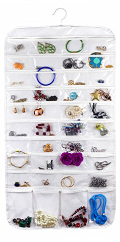 Bags for Less 80 Pocket Clear Hanging Jewelry Holder Storage Case Hanger Earrings Bracelets Pendants Accessories