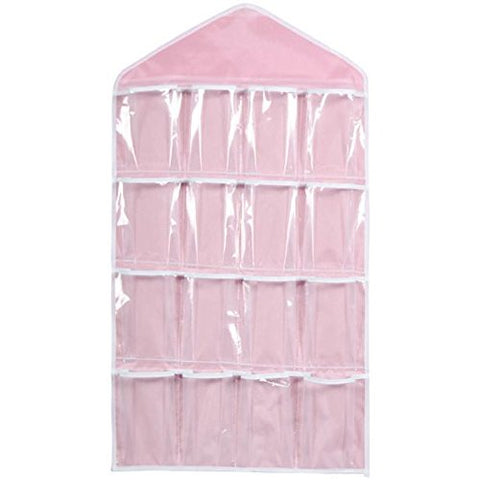 Goddessvan 16 Pockets Clear Hanging Bag Rack Hanger Storage Organizer for Socks/Bra/Underwear (Pink)