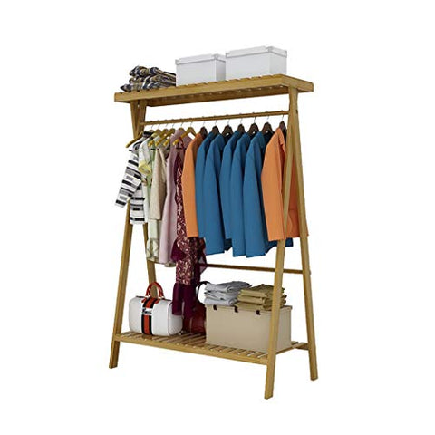 Coat Stand Bamboo Coat Rack Hanging Clothes Shoes Storage Shelf Clothing Rack Floor Coat Rack (Size : 90cm45cm140cm)
