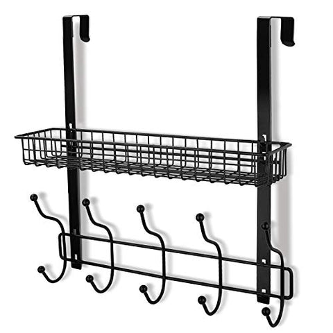 Coat Rack, MILIJIA Over The Door Hanger with Mesh Basket, Detachable Storage Shelf for Towels, Hats, Handbags, Coats (Black)