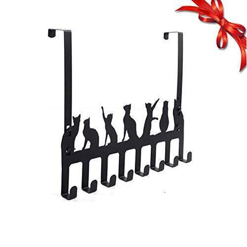 Wintek Over the Door Hook Hanger, Heavy Duty Organizer Rack for Towel, Coat , Bag - 8 Hooks, (Black)