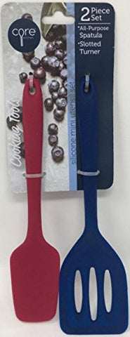 Core Kitchen 2-pc Set of Silicone Mini Utensil Set - Red All-Purpose Spatula & Navy Slotted Turner