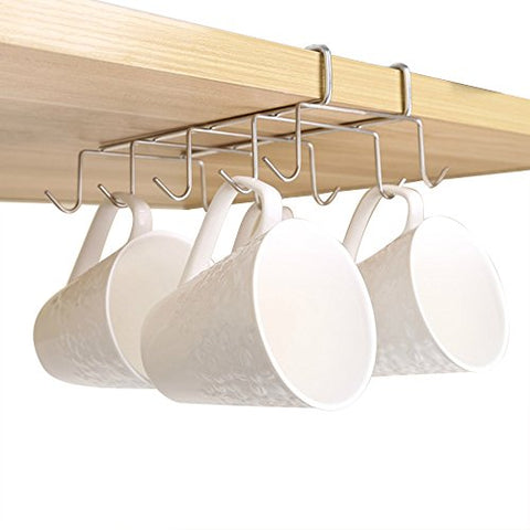 Foder 10 Hook Mug Holder Under Shelf Mug Hooks Mug Rack Hanger Coffee Cup Holder Drying Rack for Kitchen Hanging Organizer Rack- Cabinet Hanging Tie Belt Organizer Rack