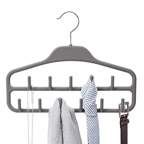 Belt Hanger Rack Holder, Sturdy Belt Organizer with 360 Degree Swivel, 11 Large Belt Hooks for Closet, Rubberized Belt Hangers for Men Women, Gray