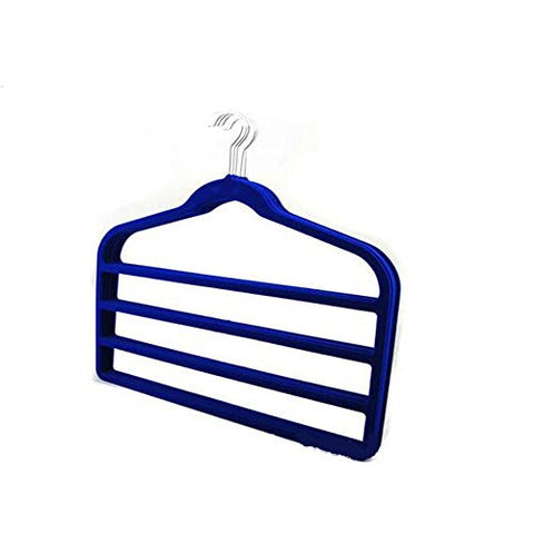 ZSDGY Four-Grid Flocking Pants Rack/Multi-Function Non-Slip Hanging Pants Hanger/Trousers Jeans Storage Shelf (5PCS),Blue
