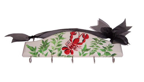Cute Tools Kitchen/Key Rack - Hand Painted Wooden Wall Rack With Hooks In The USA, Organize Your CuteTools! Hang Tools, Keys, Hats, OR Jewelry With The Help From Art For A Cause, Lobster