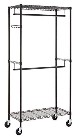 Finnhomy Heavy Duty Rolling Garment Rack Clothes Rack with Double Hanger Rods and Shelves, Portable Closet Organizer with Wheels, 1? Diameter Thicken Steel Tube Hold Up to 300Lbs, Black