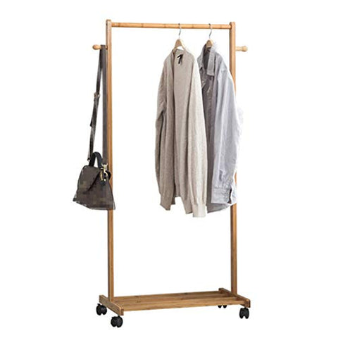 Floor Standing Coat Rack with Pulley, Clothes/Hat/Shoe Storage Rack Clothing Shelf Multifunction Solid Wood Hangers Single Rod Type,2 Hook,60/70/80cm 3, Wood Color