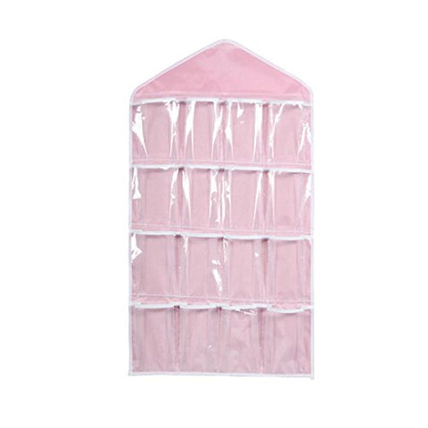 "Huphoon Home Organizers 16 Pockets Hanging Closet Door Hanging Bag Shoe Rack Hanger Underwear Socks Bra Ties Storage Tidy Organiz(27.7""X15.35"") (Pink)"