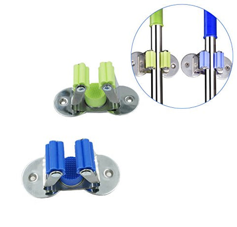HUAYOO Stainless Steel Mop and Broom Holder 3M Self Adhesive and Double Screws Wall Mounted Mop Broom Organizer Spring Clip Design