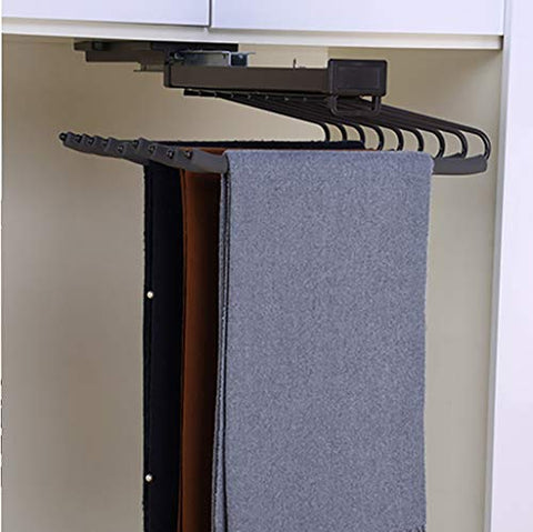 FKhanger Pull Out Trousers Rack,Tie Holder with Damper Rail,Extendable Wardrobe Pants Rack (47cm)