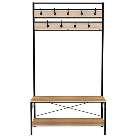 go2buy Coat Rack Shoe Bench, Hall Tree Entryway Storage Shelf, Black Iron Frame & Sandal Wood Board, Easy Assembly