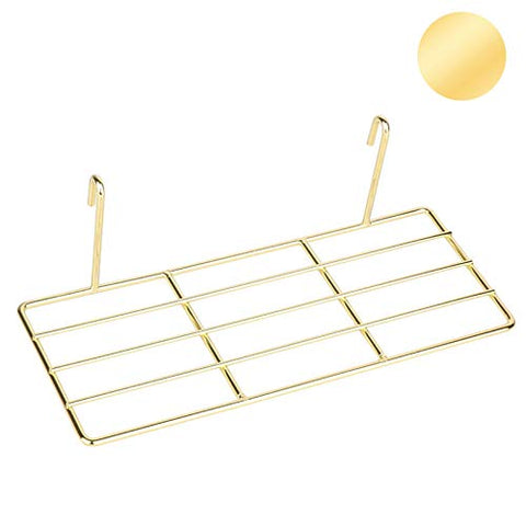 "Gold Straight Shelf Rack for Gridwall Grid Panel Wall Mountable Wire Organizer Storage Flower Pot Display Decor 9.8"" x 3.9"""