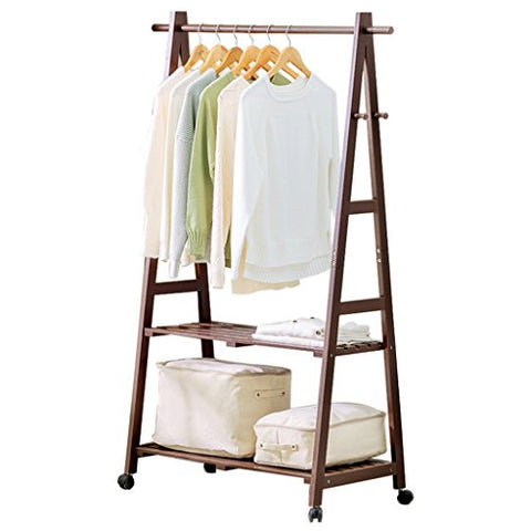 Floor Standing Coat Rack with Pulley, Clothes/Hat/Shoe Storage Rack Clothing Shelf Multifunction Solid Wood Hangers Single Rod Type,2-Tier,3 Hook,60/80/100cm 3, Brown and White