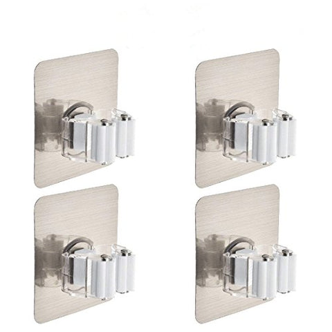 Mop Holder Idealco ?4 Pack? Broom Hanger, Reusable Mop Broom Organizer Mop Rack Non-slip and Waterproof,Self Adhesive Wall Mounted Tool,Storage Rack Storage & Organization Super Adhesion for Your Home