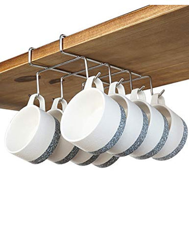 "bafvt Coffee Mug Holder - 304 Stainless Steel 8 Hooks Cup Rack Under Shelf, Fit for The Cabinet 0.8"" or Less"