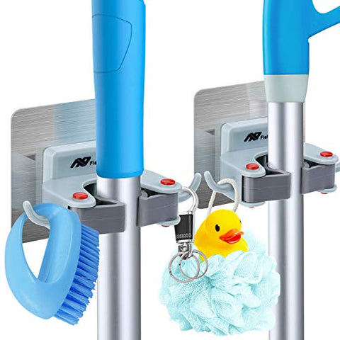 FlePow Broom Holder Wall Mount - Mop Broom Holder Gripper Self Adhesive Removable Waterproof No Drilling Garage Storage & Organization Hanger Hook for Kitchen and Bathroom, Garden, Closet (2 Pack?