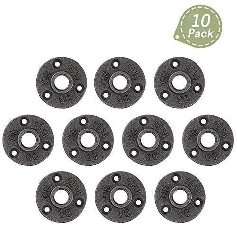 1/2 Inch Malleable Cast Iron Floor Flange 10 Pcs, Industrial Steel Fits Standard Half Inch Threaded Black Pipes And Fittings, Build Vintage Diy Furniture Shelving, Threaded Hole-Industrial Black Pipe