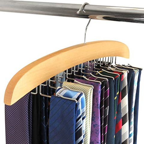 HANGERWORLD Wooden 24 Tie Hanger Holder Organizer Hook Storage Rack
