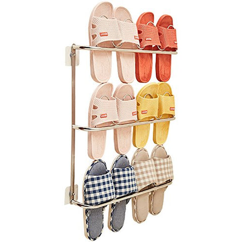 Esdella Wall Mounted Shoe Rack Stainless-Steel Bathroom Shoe Rack, Slippers Shoe Organizer Over The Wall/Door, Shoe Storage Shelf Hanging Shoe Rack
