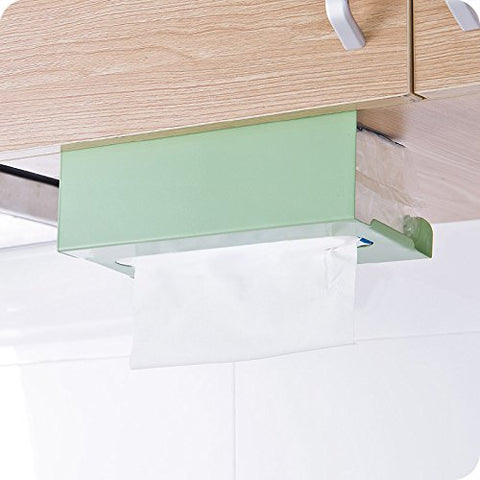Cabinets Kitchen Hanging Paper Towel Rack Holder,Iron Tissue Box Cover Storage Rack (Light Green)