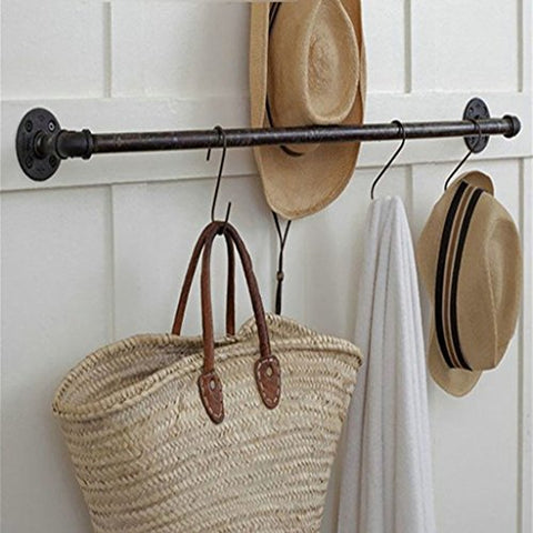 GJ-bgymj Industrial Wind Decorative Shelf American Retro Iron Hose Coat hat Rack Made of Old Wall-Mounted Clothing Hook Rack (Size : 8010cm)