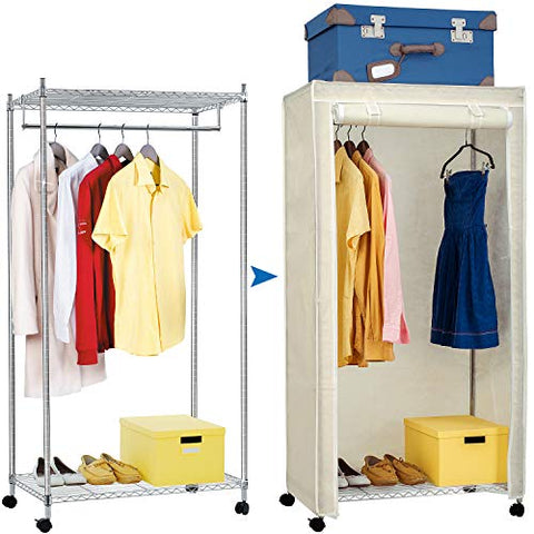 Artmoon Buffalo Heavy Duty Steel Clothes Rail Closet on Wheels with 2 Shelves and Cover