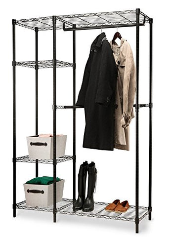 Home-it Garment Rack Heavy Duty Shelving Wire Shelving (Black) Closet Shelving Garment Racks