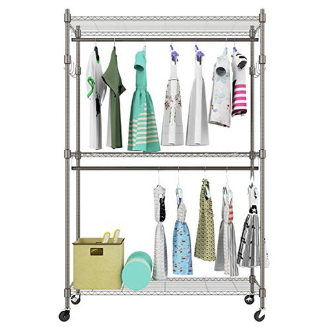 2-Rod Garment Rack, Heavy Duty Rolling Wire Shelving Clothes Shelf Unit with 2 Adjustable Hanging Rods and 2 Side Hooks, Lockable Wheels