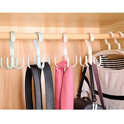 Homieco trade; Bag Storage Racks Rotatable Bag Hanger Wardrobe Hangers Strong Necktie Belt Hooks Hand Bag Holder Plastic Hook